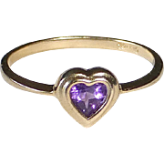 10k Yellow Gold Amethyst Heart Ring