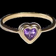 10k Yellow Gold Amethyst Heart Ring
