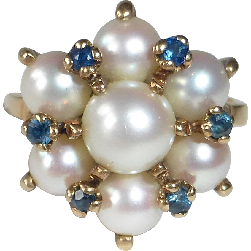 10k Cultured Pearl Rosette Cluster Ring w Sapphires