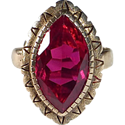 Antique 14k Rose Gold Ring Marquise Synthetic Ruby