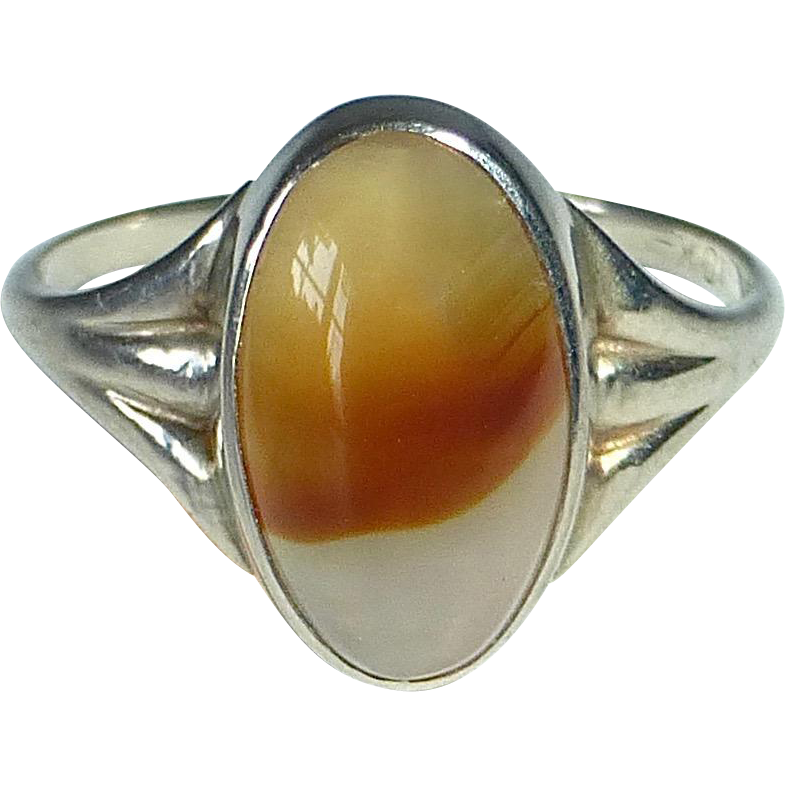 10k White Gold Split Band Ring w Agate