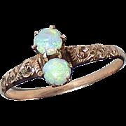 Antique Victorian !2k Rose Gold Opal Ring