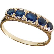 14k Art Deco Five Sapphire Stacking Ring