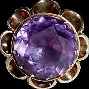 14k Rose Gold Synthetic Alexandrite Art Deco Ring