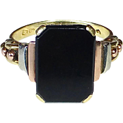 14k Art Deco Rare Tri-Color Gold & Onyx Ring
