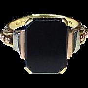 14k Art Deco Rare Tri-Color Gold & Onyx Ring