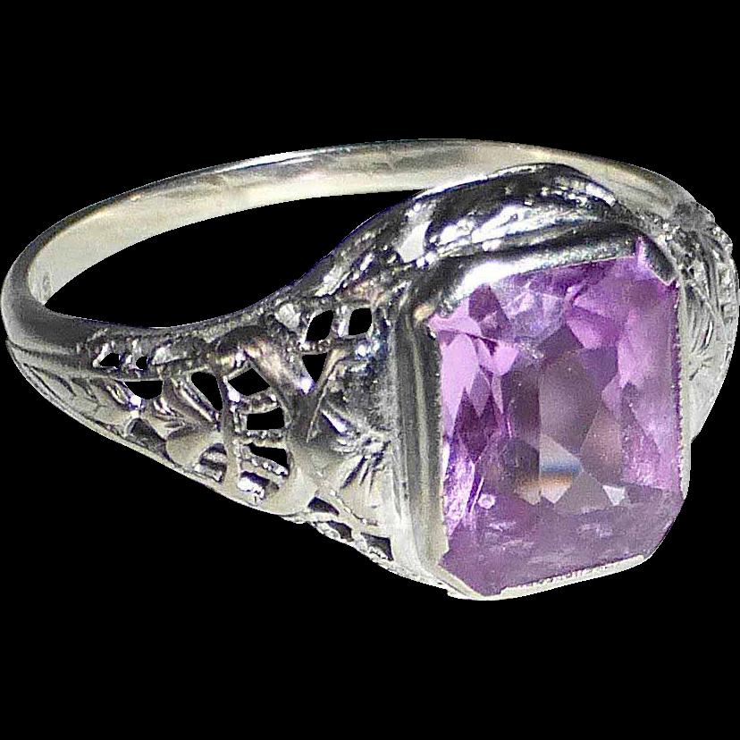 14k Art Deco White Gold Filigree Ring Pink Jewel