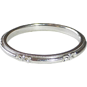 14k Art Deco White Gold Patterned Band Ring