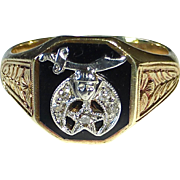 14k Onyx Diamonds Shriners Fraternal Ring by Birks