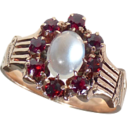 Antique Victorian 14k Rose Gold Moonstone & Garnet Ring