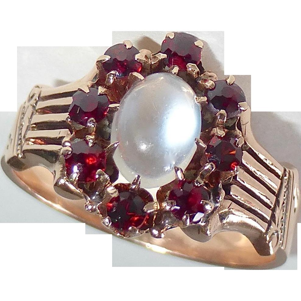 antique victorian 14k rose gold moonstone amp garnet ring