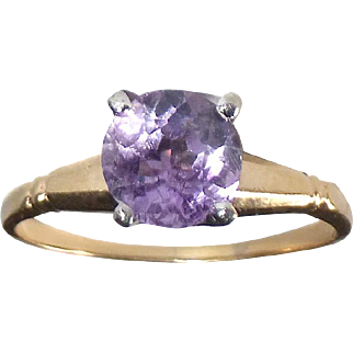 14k Amethyst Solitaire Ring c1950s