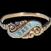Antique 14k Rose Gold Victorian Enamel Baby Ring