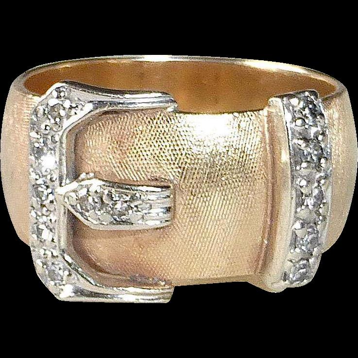 14k Mid Century Diamond Buckle Band Ring