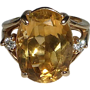 14k Large Citrine Dinner Ring w Diamond Accents