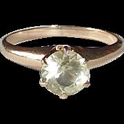 14k Mid Century Citrine Solitaire Ring