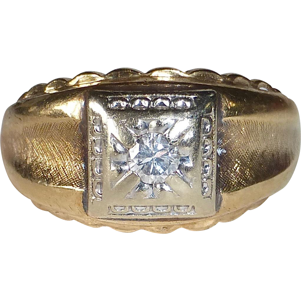 14k Mens' 1950s Diamond Band Ring