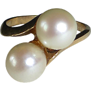 14k Double Cultured Pearl Ring