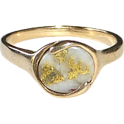 14k Natural Gold in Quartz Cabochon Ring