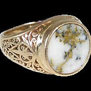 Antique Gold Bearing Quartz Ring Filigree Sides