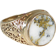 Antique Gold Bearing Quartz Ring Filigree Sides