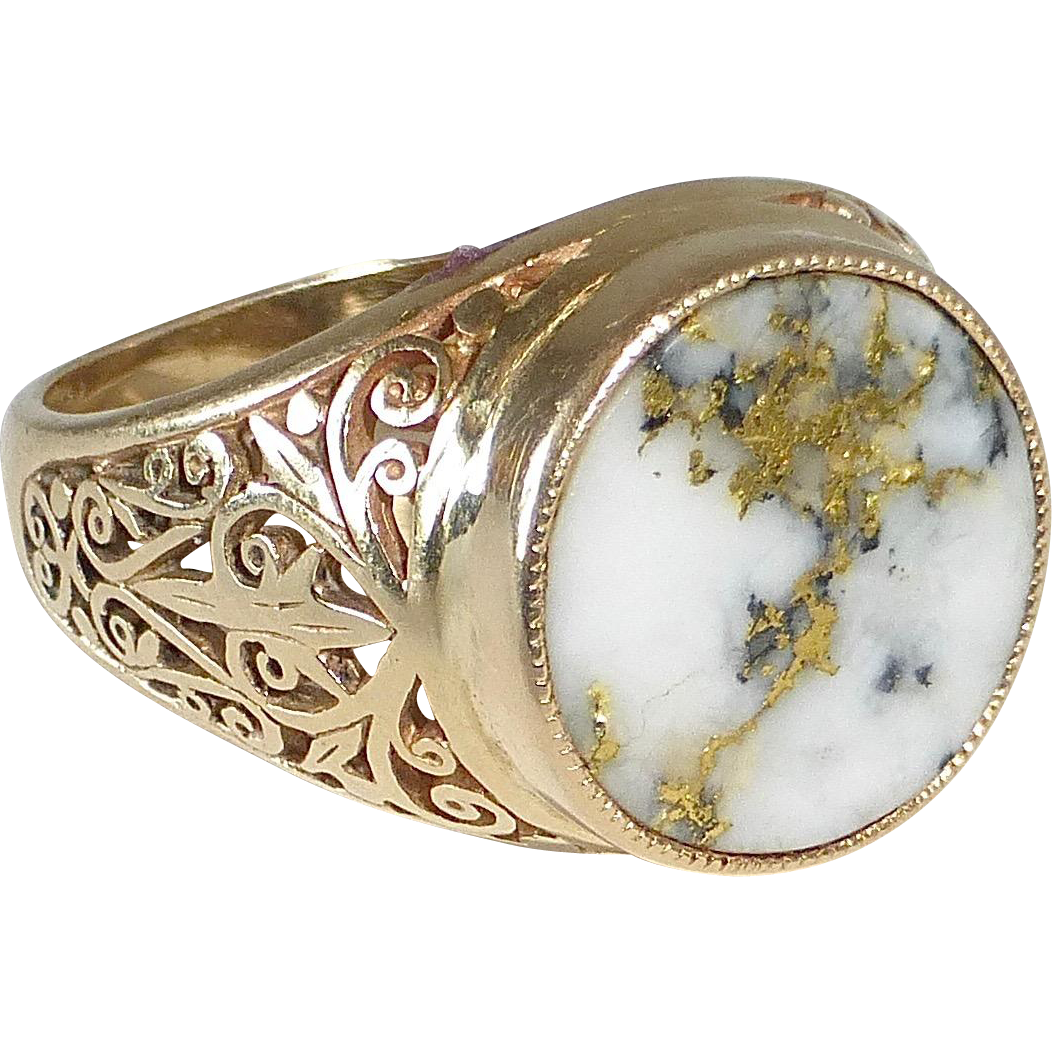Antique Gold Bearing Quartz Ring Filigree Sides BeJewelled Ruby Lane