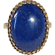 14k Lapis Ring Fancy Filigree Bezel