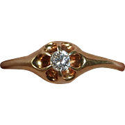 14k Antique Claw Set Mine Cut Diamond Ring