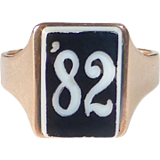 14k Victorian Rose Gold Sardonyx Intaglio '82 Ring