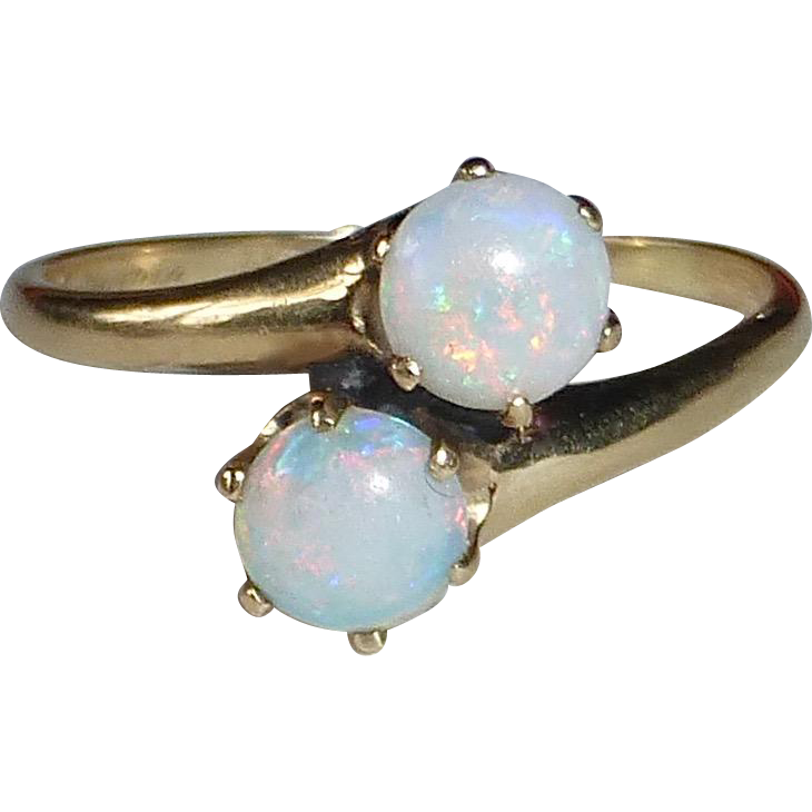 14k Antique Victorian Opal Bypass Ring