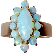 14k Yellow Gold Opal Marquise Cluster Ring