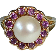 14k Yellow Gold Pearl RIng w Ruby Frame