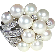 14k White Gold Pearl & Diamond Dinner Ring