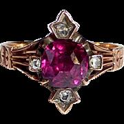 14k Rose Gold Victorian Garnet Ring w Mine Cut Diamonds