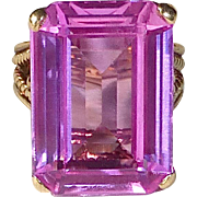 14k Dinner Ring w Large Lab Grown Pink Sapphire