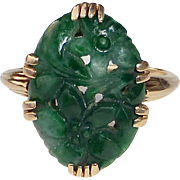14k Yellow Gold Carved Floral Design Jade Ring