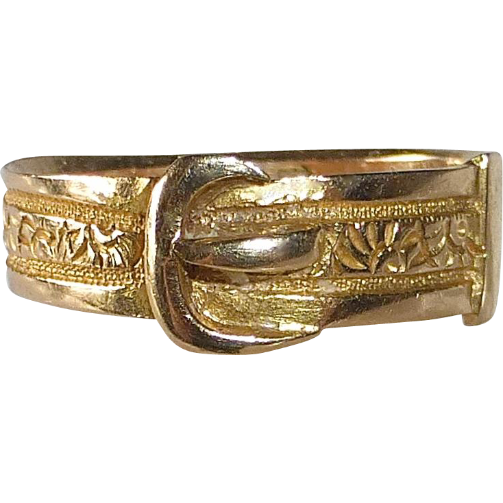 Antique 18k Georgian Engraved Buckle Ring London c1807