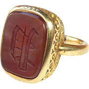 18k Antique Victorian Carnelian Intaglio P Seal Ring