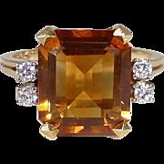 18k Madeira Citrine Ring w Diamond Accents