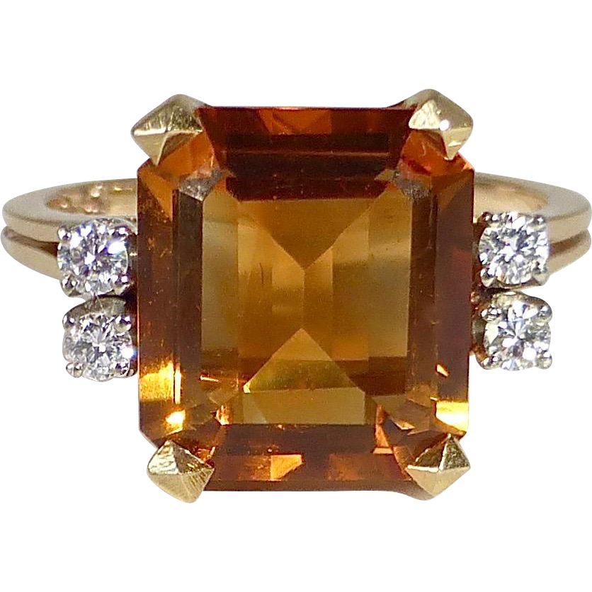 18k Madeira Citrine Ring w Diamond Accents