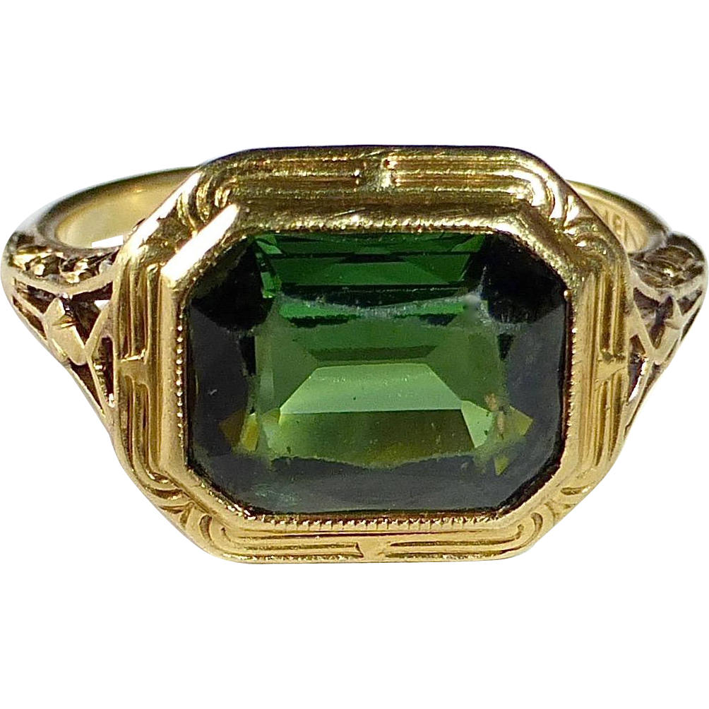 Antique 18k Green Tourmaline Ring by Larter Co.