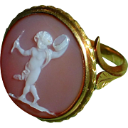 Antique Victorian Gold Sardonyx Cherub Cameo Ring