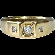 18k Yellow Gold Mens Ring 3 Inset Diamonds