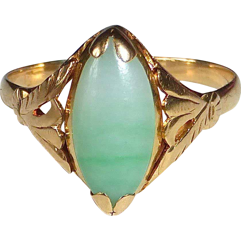 18k Marquise Cabochon Nephrite Jade Ring