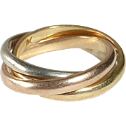 18k Tri-Color Rolling Band Ring Yellow Pink White