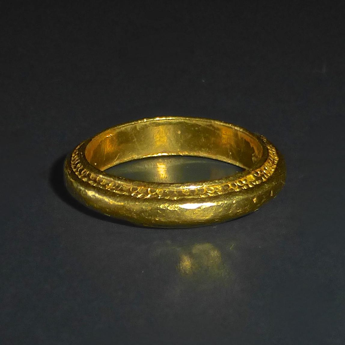 24k chinese gold band ring from bejewelled on ruby lane