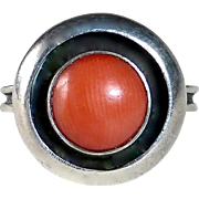 Mid Century Modernist 835 Silver & Coral Ring
