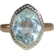 Art Deco 14k White & Yellow Gold Aquamarine Ring