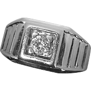 14k Art Deco White Gold Diamond Ring
