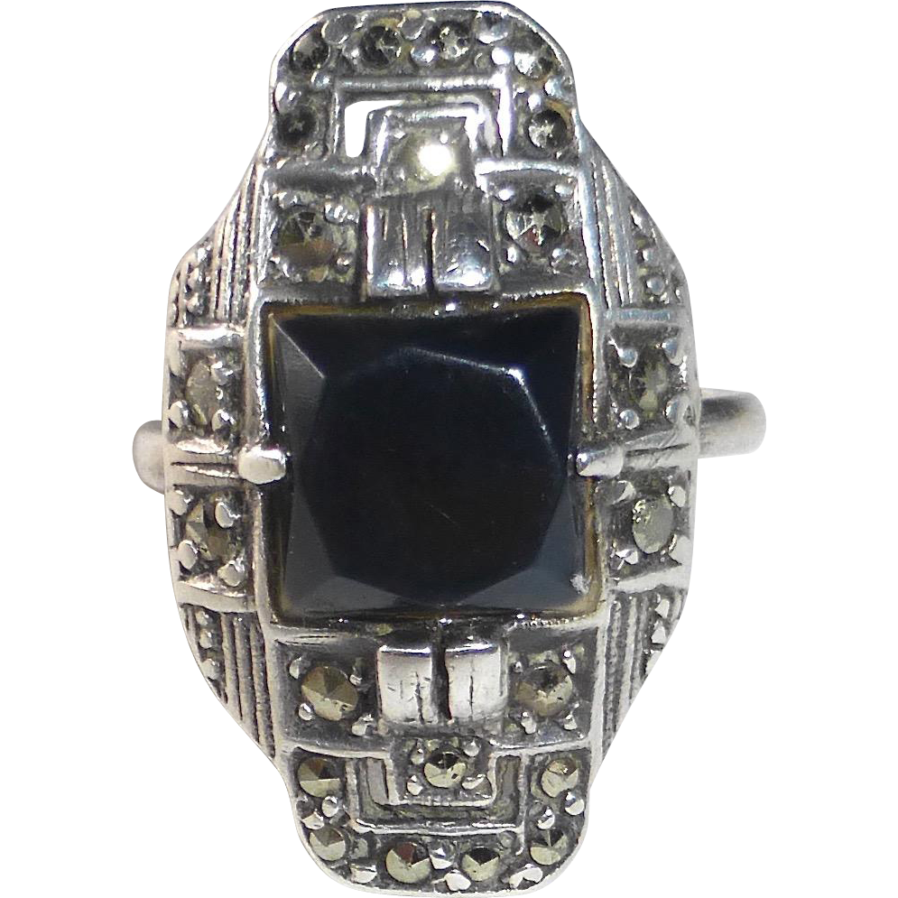 Art Deco Sterling Marcasite Onyx Ring